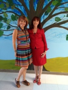 Jamey Olney and Katherine Bassett during research study visit to Jamey's school.
